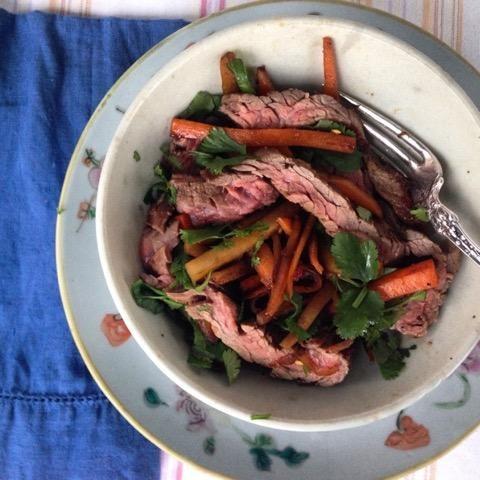 Skirt Steak with Kohlrabi, Carrots, Ginger & Chili Paste