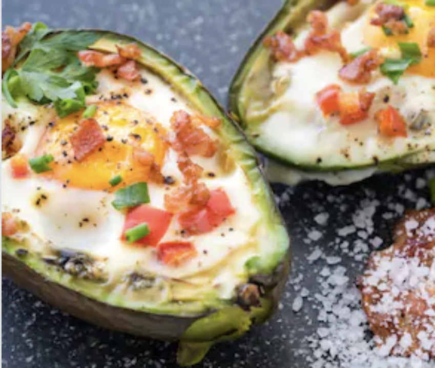 Baked Avocado with Ham Steak or Irish Bacon