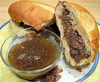 Cooked and Sliced Roast Beef in Au Jus