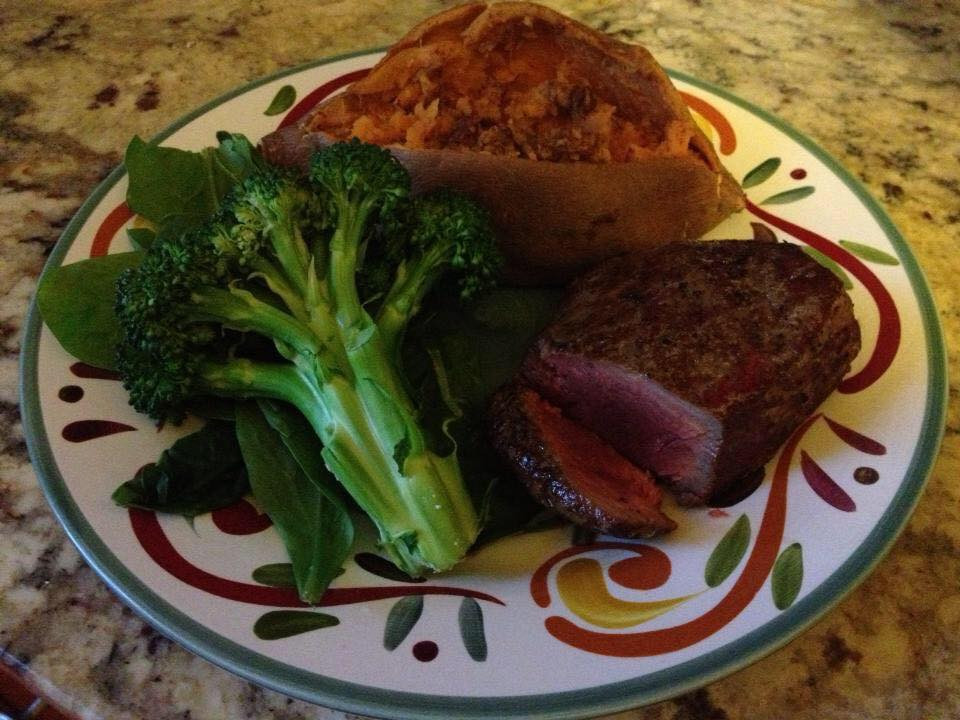 Sirloin with Broccoli and Sweet Potato