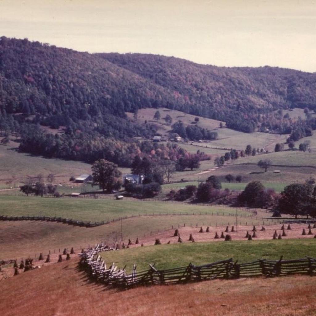 circa 1950s view of farm taken from Union School Road…Roger, Sr., and R.O., Jr., cut chestnut trees, even dead ones still standing in the 40s, and split the rails used throughout the farm. The short stretch of rails over the rocks in the Park are the last ones still in use