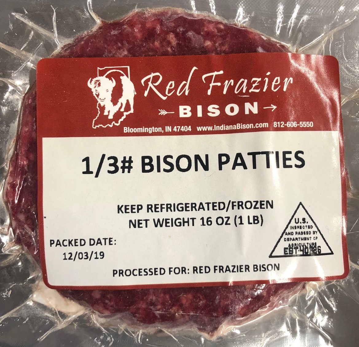 Bison Burger Patties - 1/3 lb