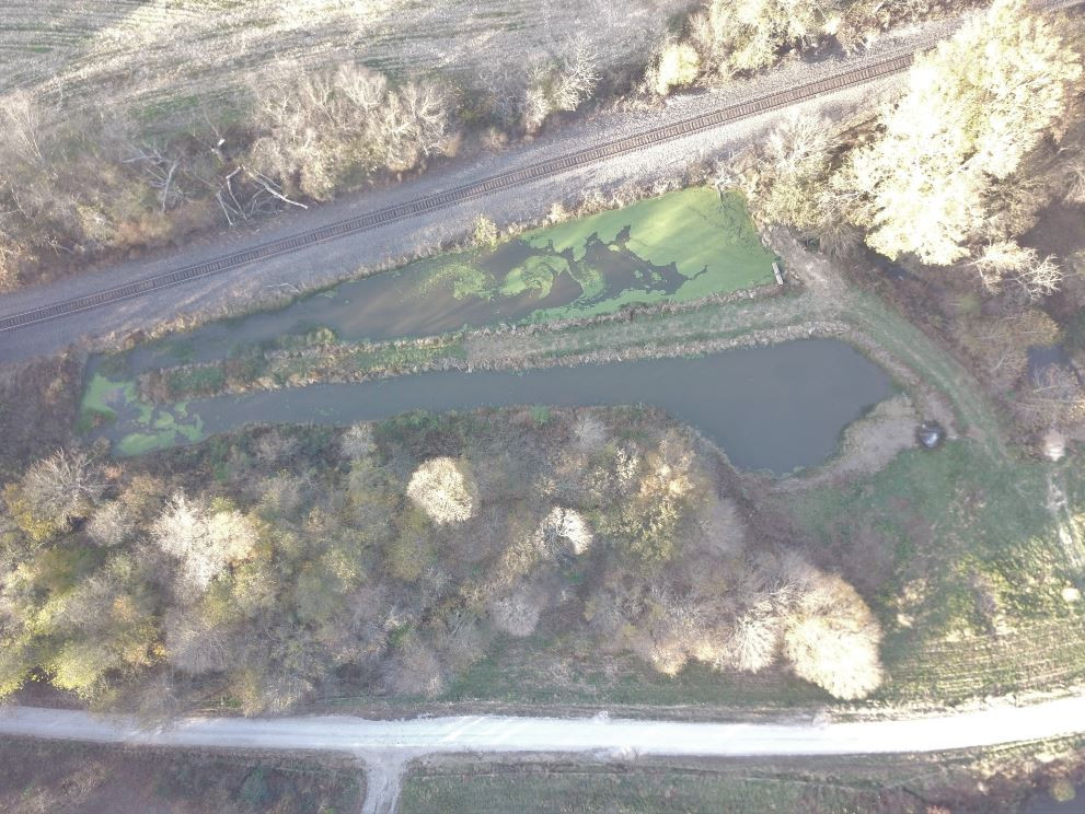 Bird's eye view of our man made wetland that filters water after passing through a series of ponds
