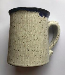 Blue Rimmed Pottery Mug