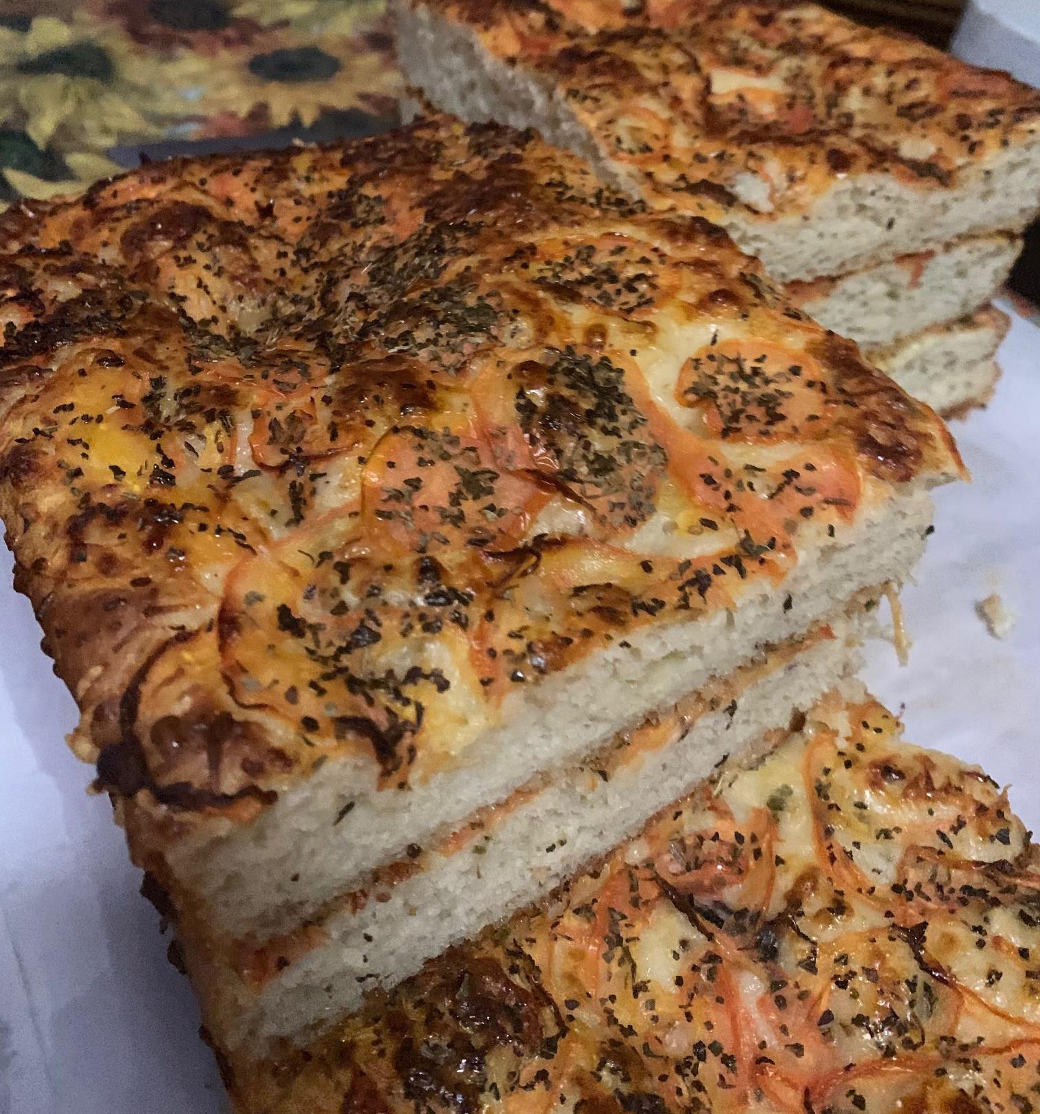 Lavish Lily - Roma Tomato, basil, garlic, Parmesan, and mozzarella focaccia