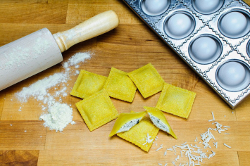 Endless Pastabilities - Asiago, Roasted Garlic & Basil Ravioli in Turmeric Egg