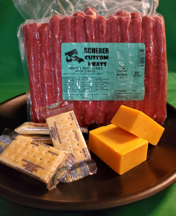 Scherer Custom Meats - Beef Sticks with Cheese 2lb Package