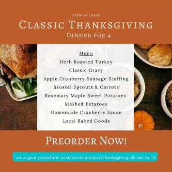Thanksgiving dinner for 4