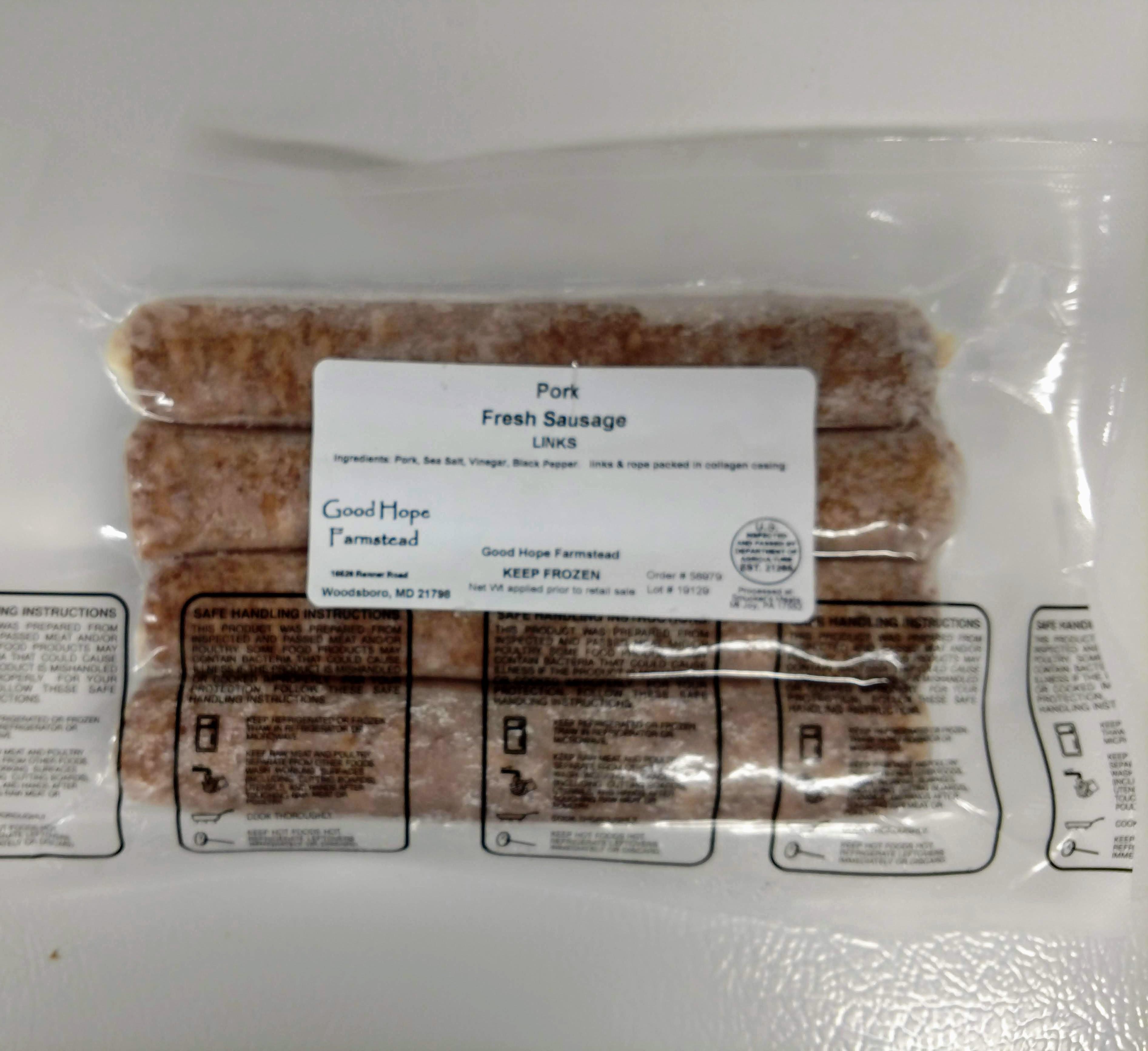 Fresh Sausage, Grillers, (SUGAR FREE) - Pork