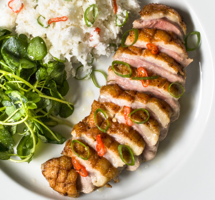 Pan-seared, Coconut Milk Marinated Duck Breast with Spicy Lemon and Scallion Sauce
