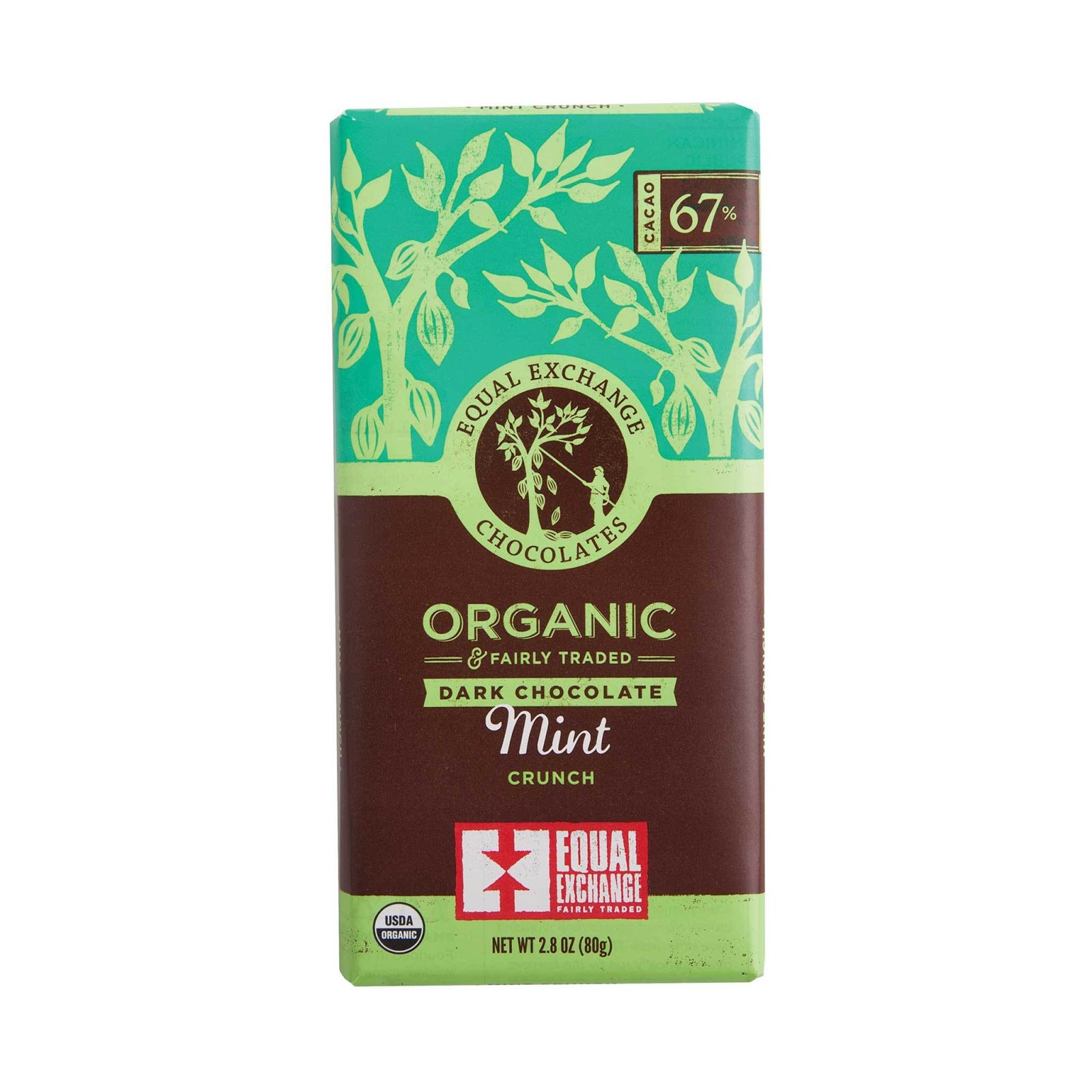 Organic Dark Chocolate Mint Crunch {67% Cacao}