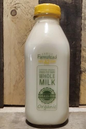 Family Farmstead A2 Cream-Top Certified Grass-fed Organic Whole Milk Quart (GLASS)