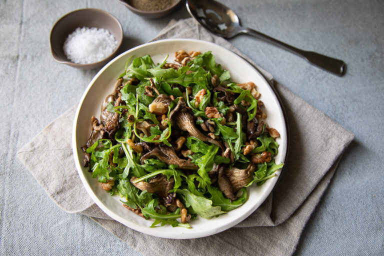 Roasted Oyster Mushrooms with Arugula and Walnuts