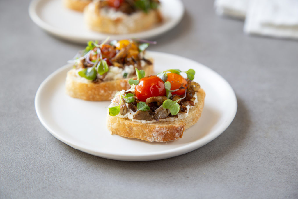 Oyster Mushroom Toast with Black Pepper Ricotta and Lemon Dressed Microgreens