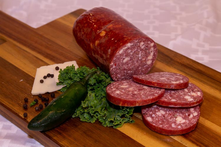 Grain-Finished Beef Summer Sausage with Pepper Cheese