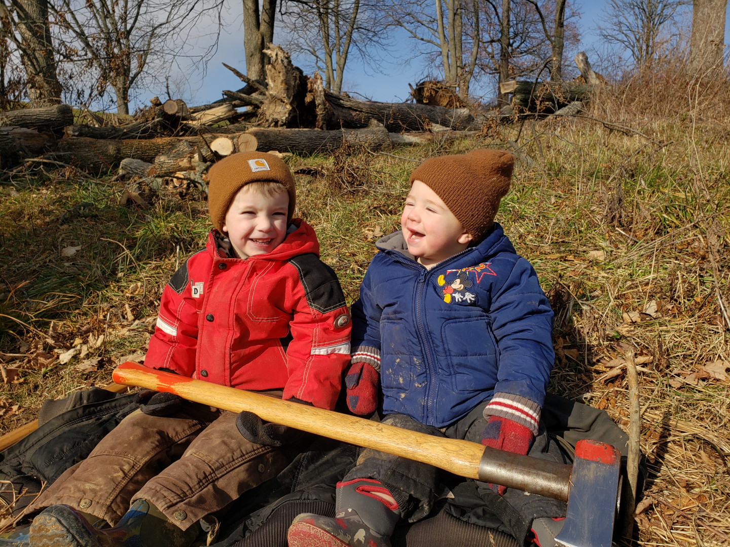 owen and lincoln splitting wood