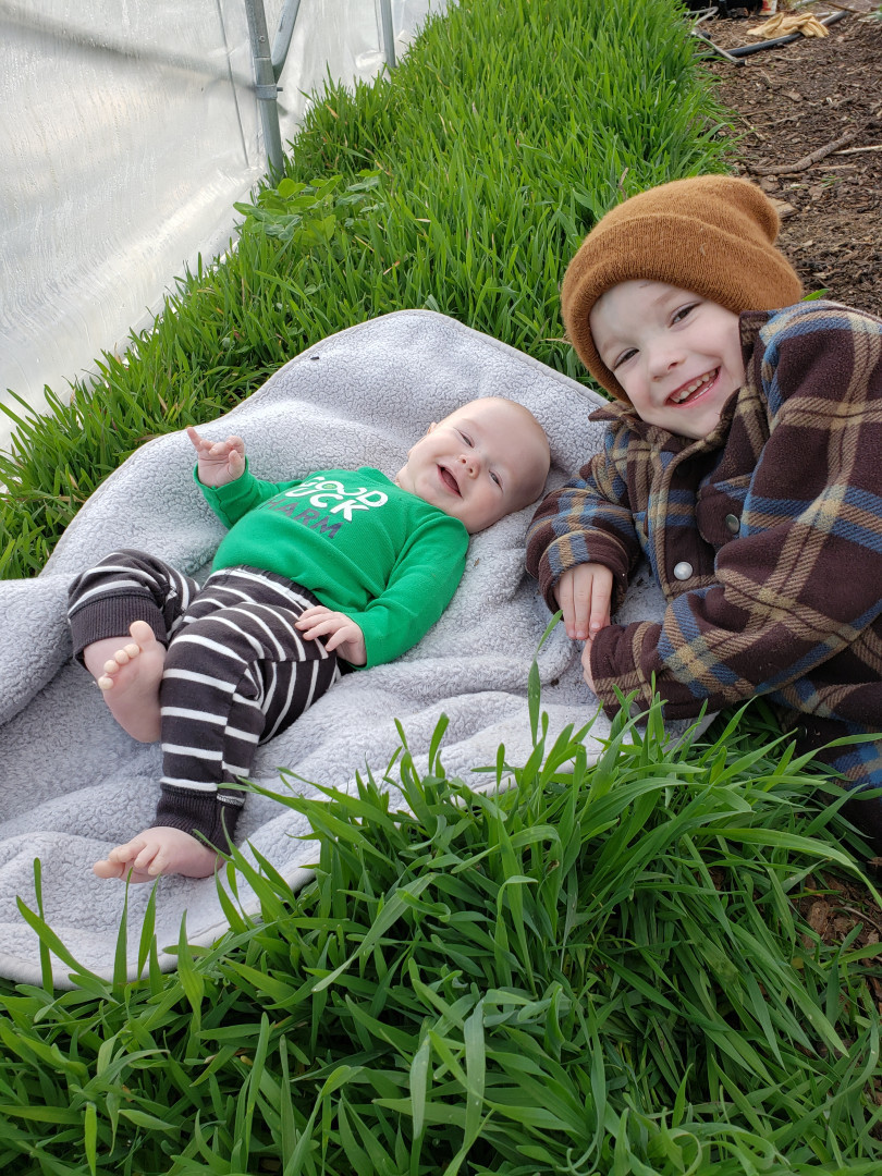 owen and silas on rye cover crop