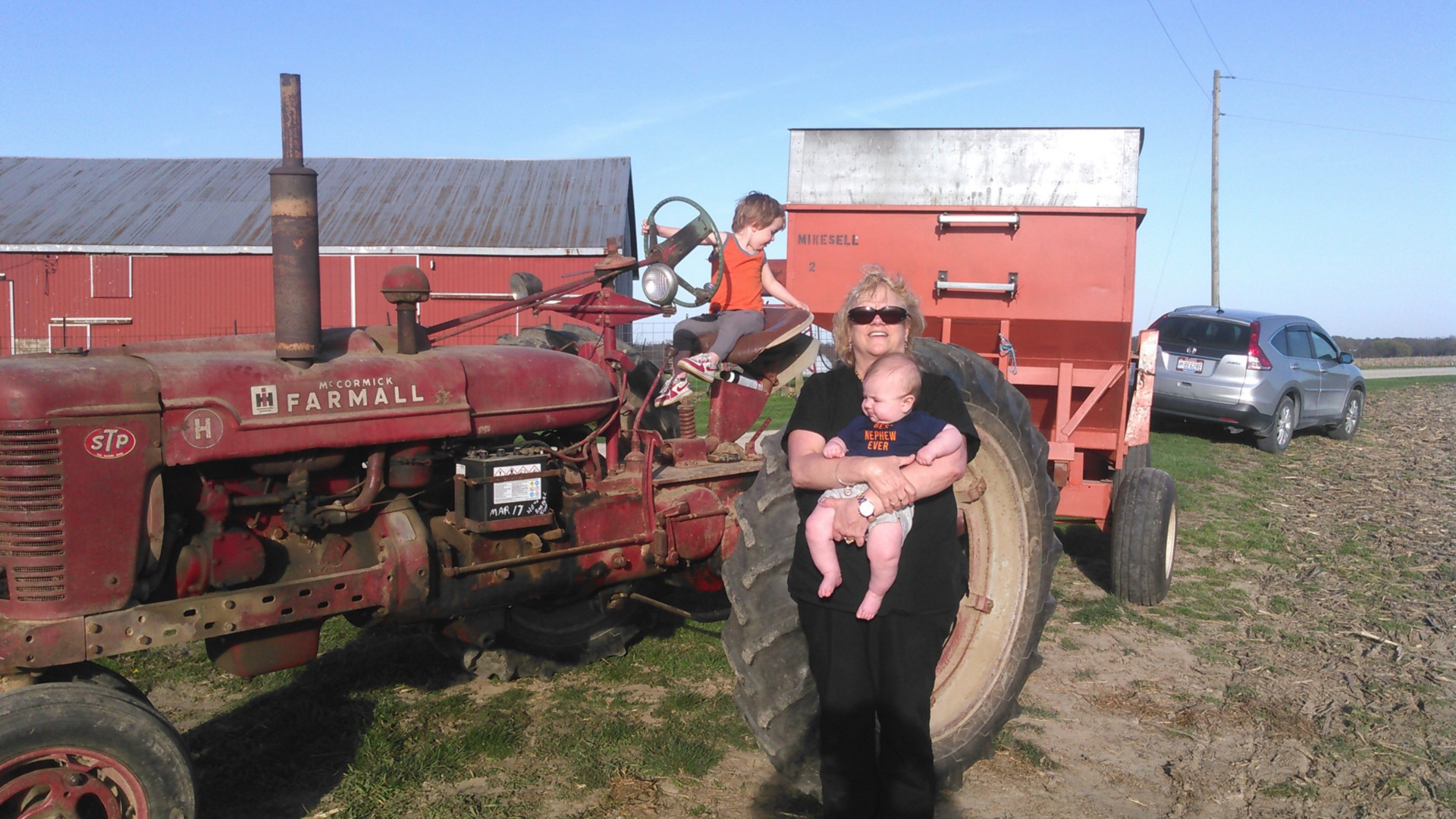 Vickie and the boys moving wagons