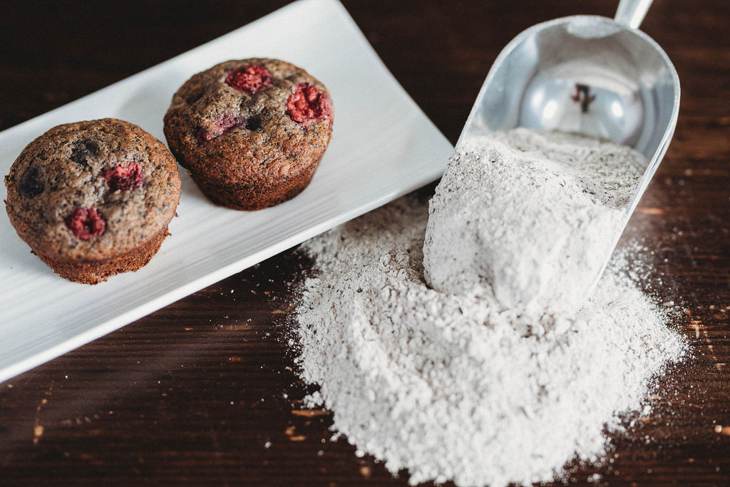 Banana Berry Buckwheat Muffins
