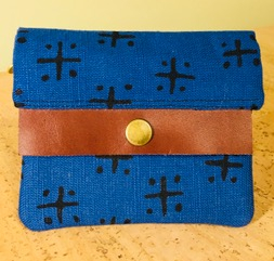 Blue Linen and Cotton Wallet