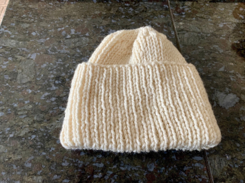 Hand Knit Watch Cap, Ivory