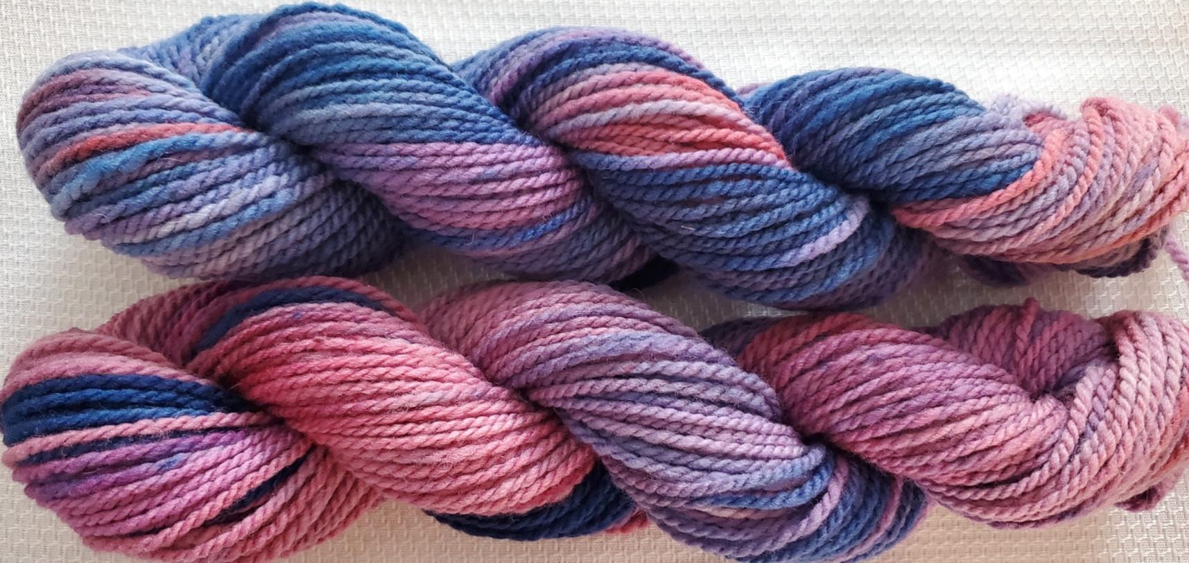 Hand Dyed Yarn - Lot 21-2 (denim & rose)