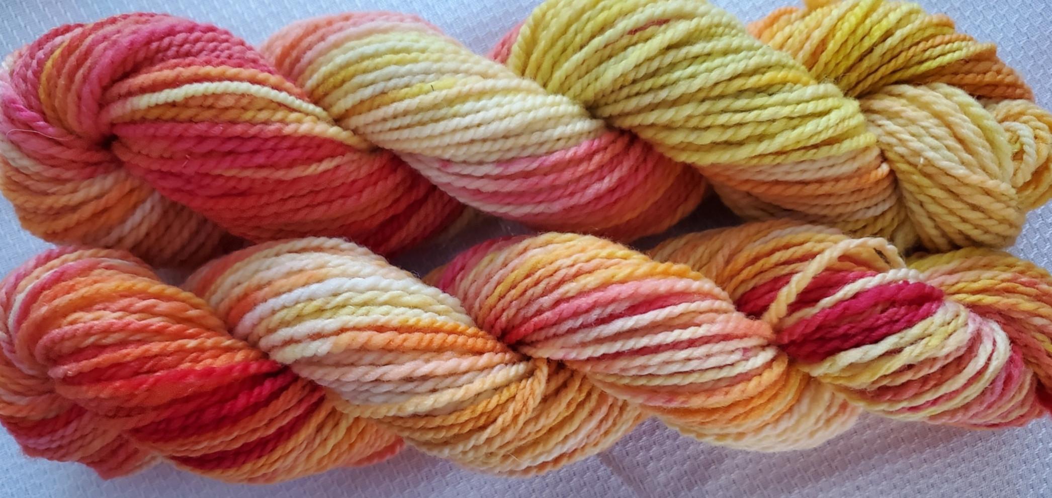 Hand Dyed Yarn - lot 21-1 (yellow-orange-red)