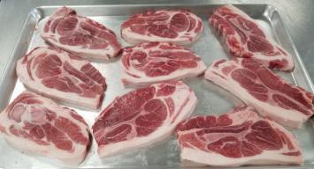 """3/4"""" Pork Shoulder Steaks: Triple Cross"""