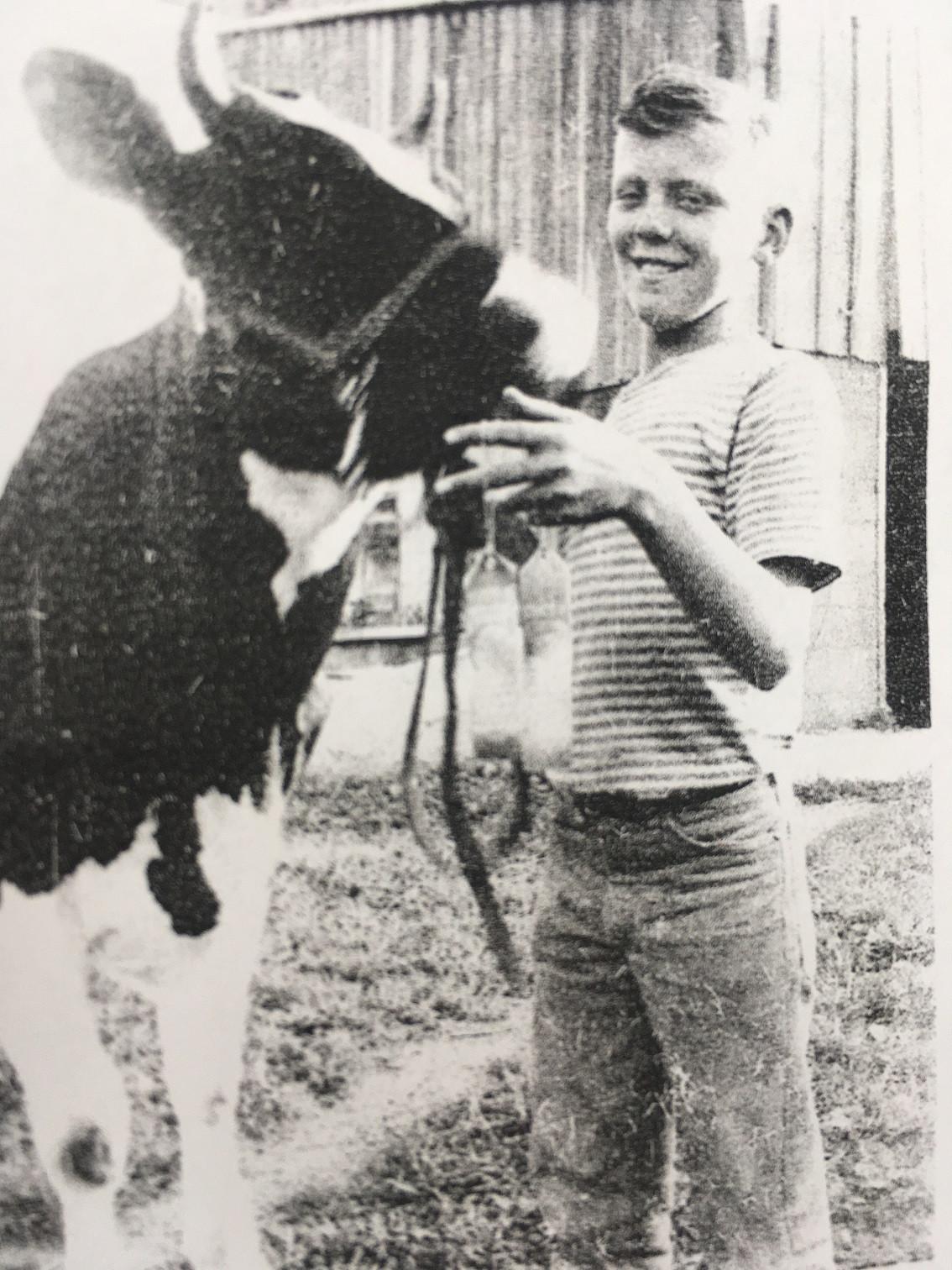 Grandpa Dave and heifer