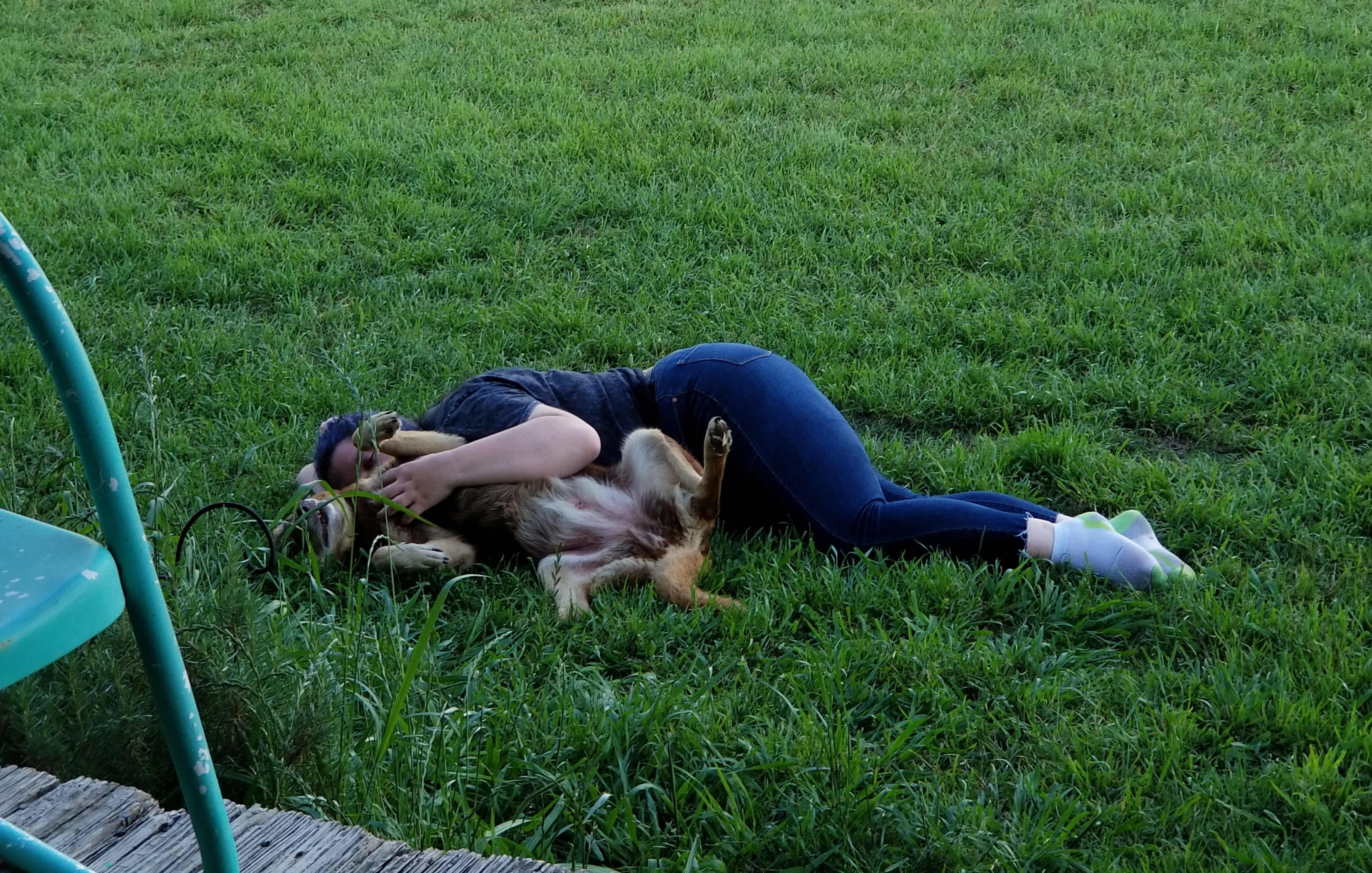 Just a girl snuggling a puppy!