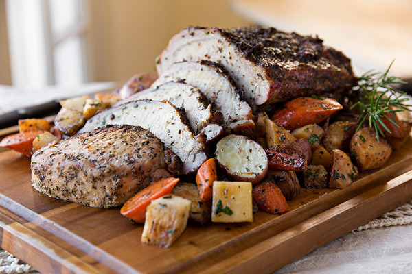Garlic-Crusted Pork Loin with Glazed Winter Vegetable