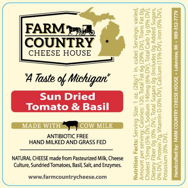 Farm Country Amish Cheese -Sun Dried Tomato & Basil