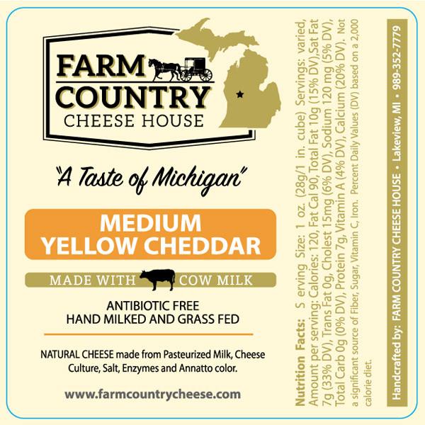 Farm Country Amish Cheese - Medium Yellow Cheddar 8 oz