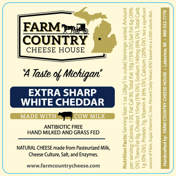Farm Country Amish Cheese - Extra-Sharp White Cheddar 8 oz
