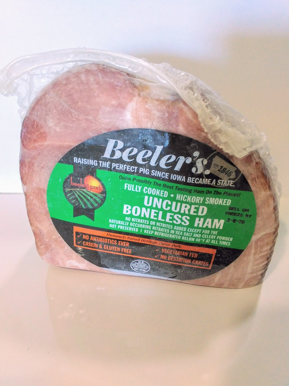Beeler's Cut Quarter Boneless Ham (Uncured and Smoked) (2-3lbs)
