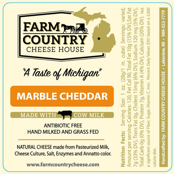 Farm Country Amish Cheese - Marble Cheddar Cheese 8 oz