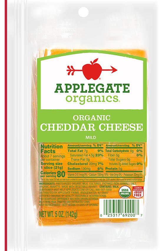 Applegate Organics — Certified Organic Sliced Mild Cheddar Cheese