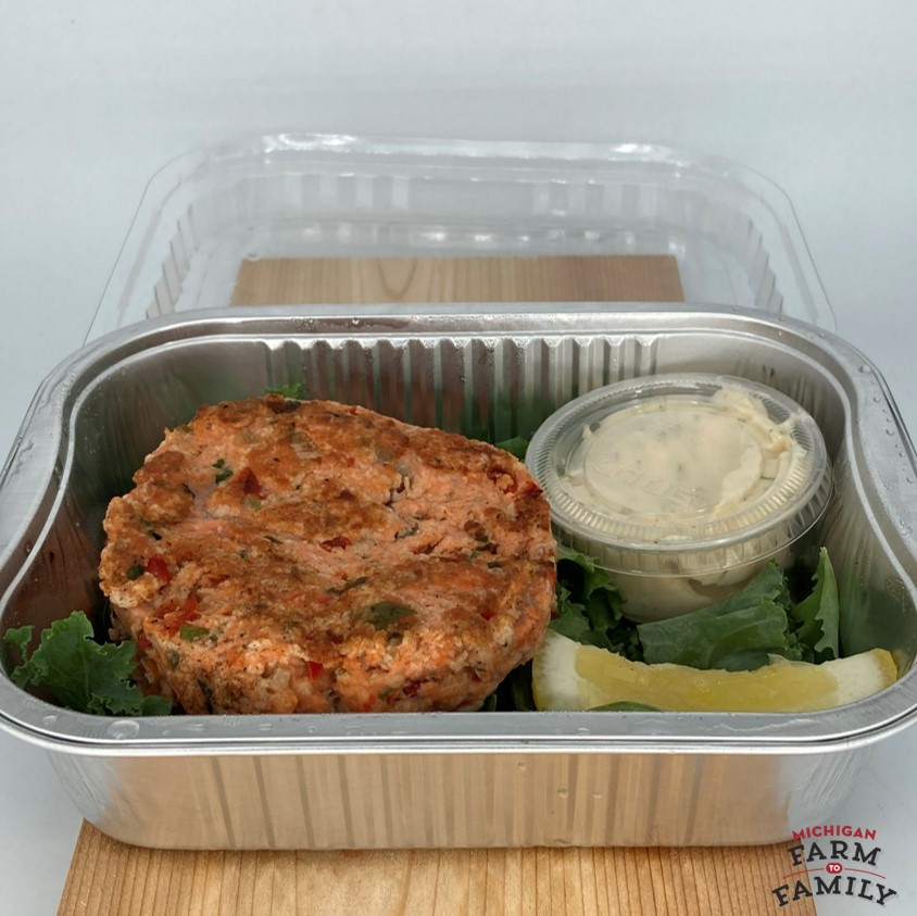 Salmon Burger Patties with Garlic Dill Aioli