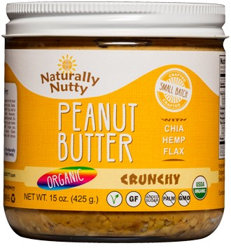 Naturally Nutty - Organic Natural Peanut Butter, Crunchy 15oz