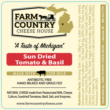 Farm Country Amish Cheese -Sun Dried Tomato & Basil