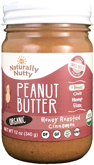 Naturally Nutty - Organic Honey Roasted Cinnamon Peanut Butter 12 oz NEW SIZE