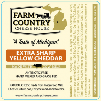 Farm Country Amish Cheese - Extra Sharp Yellow Cheddar