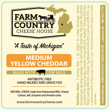 Farm Country Amish Cheese - Medium Yellow Cheddar 5 LB Block