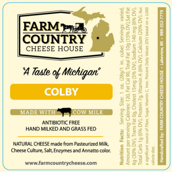 Farm Country Amish Cheese - Colby Cheese 8 oz
