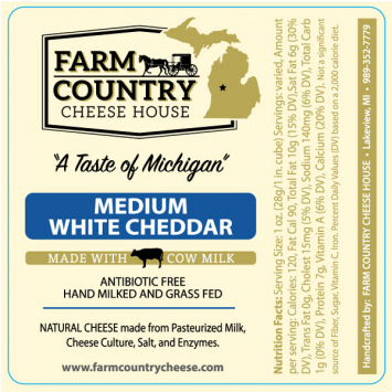 Farm Country Amish Cheese - Medium White Cheddar 8 oz