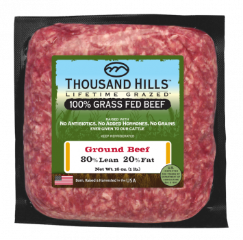 Thousand Hills 100% Ground Beef - 80% Lean