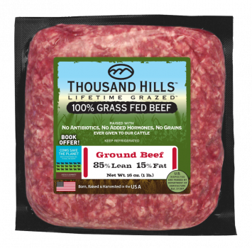 Thousand Hills 100% Ground Beef - 85% Lean