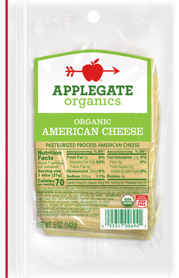 Applegate Organics — Certified Organic Sliced American Cheese