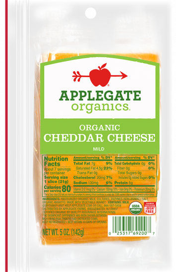 Applegate Organics — Certified Organic Sliced Mild Cheddar Cheese