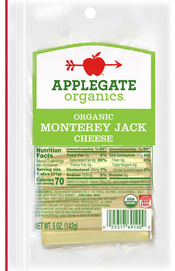 Applegate Organics — Certified Organic Sliced Monterey Jack Cheese